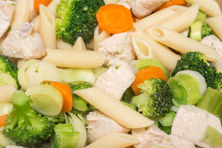 chicken meat: Italian Pasta With Broccoli, Carrots And Chicken Meat Stock Photo