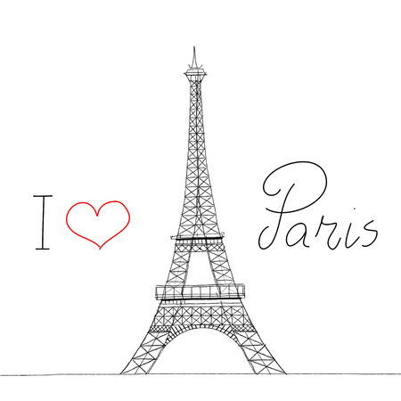 I Love Paris Eiffel Tower Sketch Illustration illustration