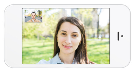 White Mobile Phone Video Conference photo