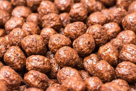 corn flakes: Boules petit d�jeuner de chocolat Corn Flakes Close Up