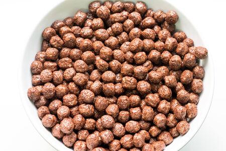 corn flakes: Bol du petit d�jeuner de chocolat Boules Corn Flakes Banque d'images