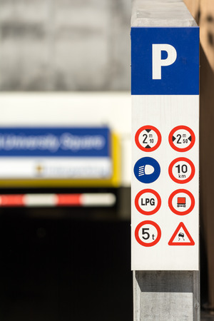 Underground Parking Signs Close Up photo
