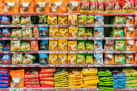 28: BUCHAREST, ROMANIA - APRIL 28  Dog Food On Animals Supermarket Shelf on April 28, 2014 in Bucharest, Romania