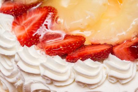 Strawberry Whip Cream Cake Close Up photo