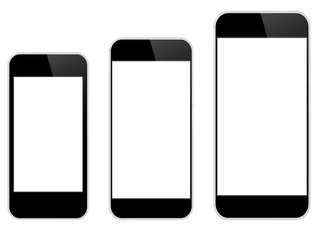 Black Mobile Phones Isolated On White Vector