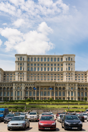 BUCHAREST, ROMANIA - MAY 13  Palace of Parliament on May 13, 2014 in Bucharest, Romania  Is the worlds largest civilian building, the most expensive administrative building and heaviest building