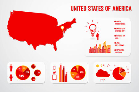 United States Of America Country Infographics Template Vector Vector