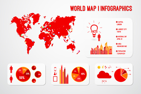 World Map Infographics Template Vector Vector