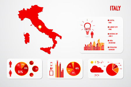 Italy Map Infographics Vector Illustration Vector