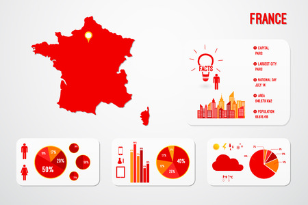 France Map Infographics Vector Illustration Vector