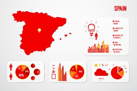 spain map: Illustrazione Spagna Mappa Infografica Vector