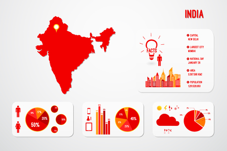 india city: India Map Infographics Vector Illustration Illustration