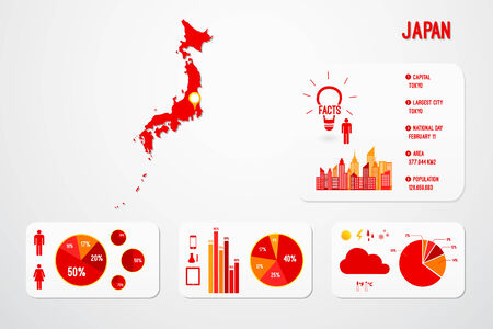 Japan Map Infographics Vector Illustration Vector