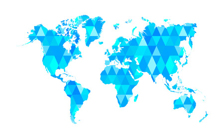 Blue Mosaic Tiles World Map Isolated Vector Illustration Vector