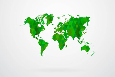 Green Mosaic Tiles World Map Vector Illustration Abstract Vector