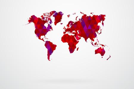 Purple Mosaic Tiles World Map Vector Illustration Abstract Vector