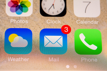 utilized: BUCHAREST, ROMANIA - JUNE 07, 2014  Mail Received Notification On Apple iPhone 5S  The Electronic Mail Is One Of The Most Utilized Functions On Modern Smartphones  Editorial