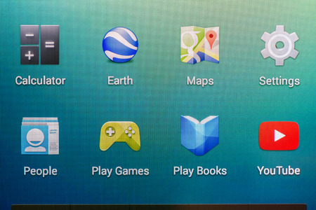 BUCHAREST, ROMANIA - JUNE 19, 2014  Android Operating System On Google Nexus 5 Smart Phone  It is an operating system based on the Linux kernel with a user interface designed for mobile phones