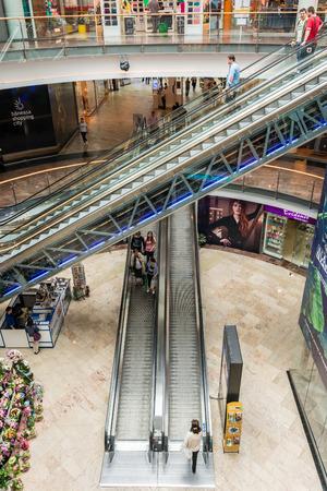 BUCHAREST, ROMANIA - JUNE 17  People Shopping In Luxurious Shopping Mall on June 17, 2014 in Bucharest, Romania