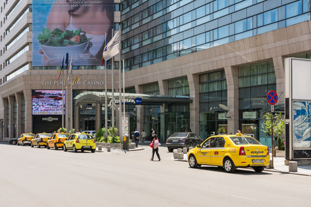 hotel chain: BUCHAREST, ROMANIA - JUNE 09, 2014  Radisson Blu Hotel Entrance Downtown Victory Street  Built in 1977 it is the biggest five star hotel in Romania and the biggest Radisson Hotel in Eastern Europe  Editorial