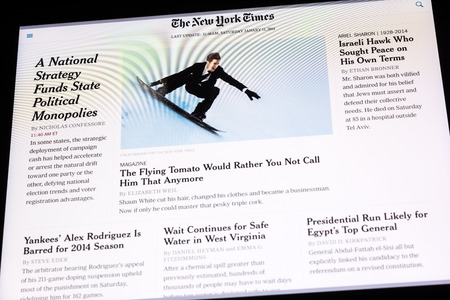 BUCHAREST, ROMANIA - JUNE 24, 2014  The New York Times Newspaper On Apple iPad Tablet  It is an American daily newspaper, founded and continuously published in New York City since 1851