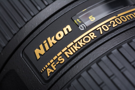 tele up: BUCHAREST, ROMANIA - JULY 05, 2014  Nikon 70-200 f 2 8 Lens For Digital Single Lens Reflex Camera  Founded in 1917 is a Japanese multinational corporation specializing in optics and imaging products