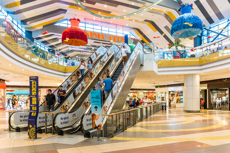 BUCHAREST, ROMANIA - JULY 07  People Shopping In Luxurious Shopping Mall on July 07, 2014 in Bucharest, Romania