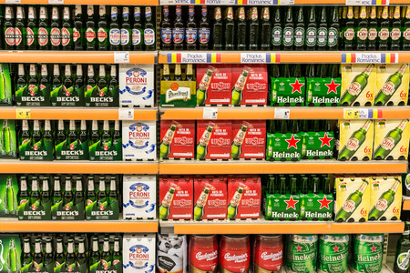 BUCHAREST, ROMANIA - JULY 08  Beer Cans On Supermarket Shelf on July 08, 2014 in Bucharest, Romania
