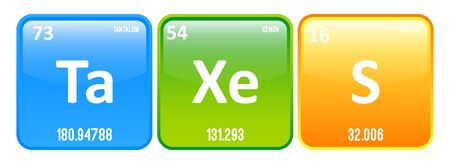 Taxes Word Made Of Periodic Table Elements Tantalum, Xenon And Sulfur Vector