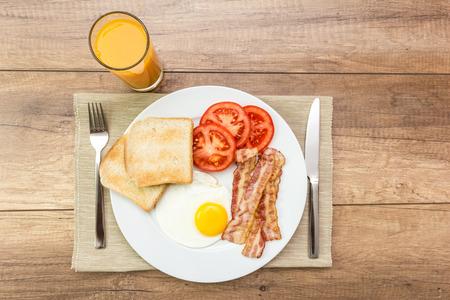 english breakfast: Healthy English Breakfast And Orange Juice Stock Photo