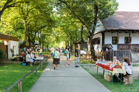 BUCHAREST, ROMANIA - JULY 20, 2014  People Visiting Dimitrie Gusti National Village Museum  Muzeul Satului   The museum is located in the Herastrau Park showcasing traditional Romanian village life