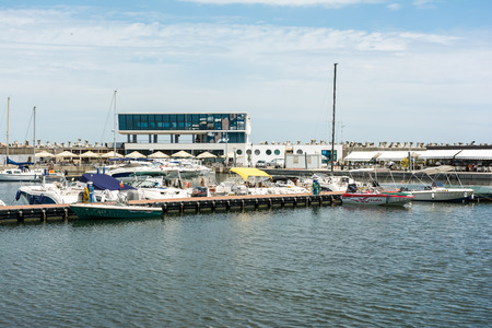 CONSTANTA, ROMANIA - JULY 29, 2014: Modern Yachts And Boats In Constanta Port At The Black Sea.