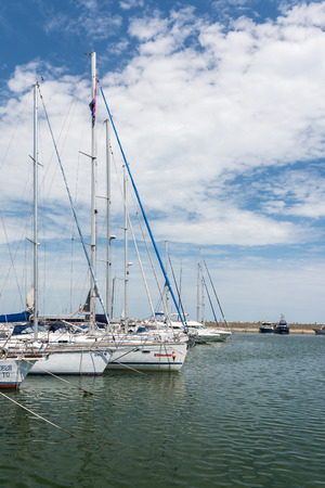 CONSTANTA, ROMANIA - JULY 30, 2014: Modern Yachts And Boats In Port Tomis Of Constanta At The Black Sea.