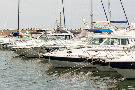 CONSTANTA, ROMANIA - JULY 30, 2014: Modern Yachts And Boats Close Up In Port Tomis Of Constanta At The Black Sea.