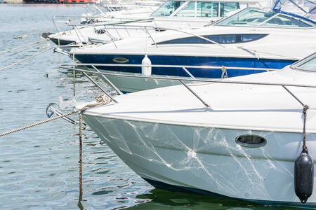 Modern Luxurious Yachts In Port Close Up photo