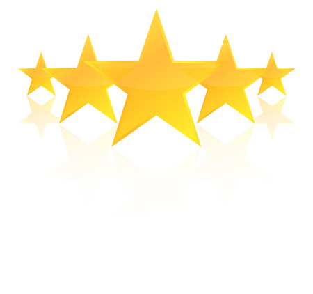 stars: Five Star Product Quality Rating With Reflection Illustration