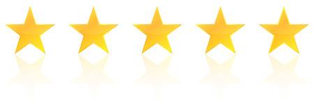 star shape: Five Star Product Quality Rating With Reflection Illustration
