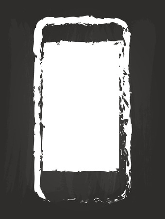 Modern Smart Phone Drawing On Black Chalkboard Vector