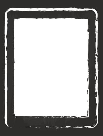 Modern Tablet Drawing On Black Chalkboard Vector