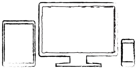 Modern Monitor With Smart Phone And Tablet Doodle Drawing On White Vector