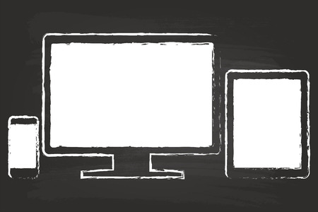 Smart Phone With Tablet And Monitor Drawing On Black Chalkboard Vector