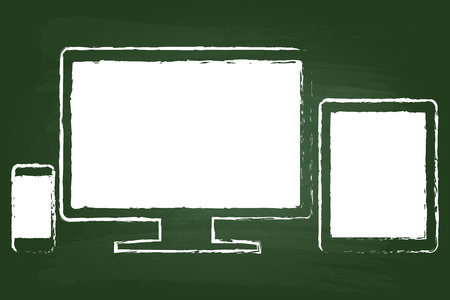 Smart Phone With Tablet And Monitor Drawing On Green Chalkboard Vector