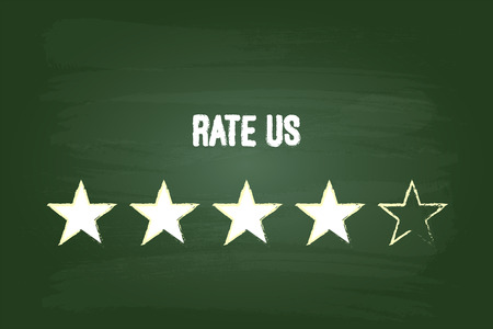 Four Star Feedback Rate Us On Green Chalkboard Illustration
