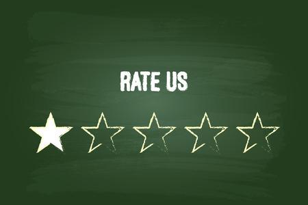 green chalkboard: One Star Feedback Rate Us On Green Chalkboard