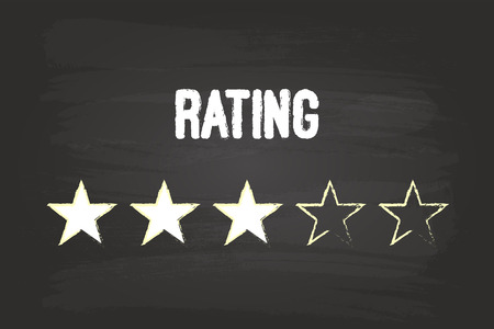 Three Star Rating On Blackboard With White Chalk Vector