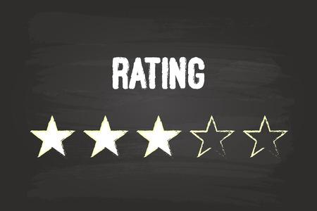 star rating: Tre Stelle sulla lavagna bianca con gesso