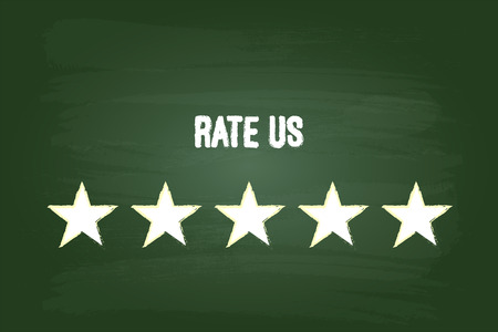 feedback: Five Star Feedback Rate Us On Green Chalkboard Illustration