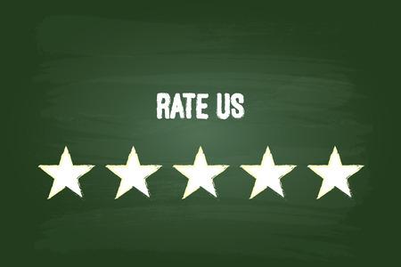 Five Star Feedback Rate Us On Green Chalkboard Illustration