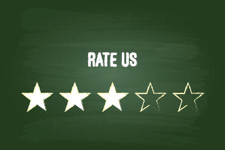 feed back: Three Star Feedback Rate Us On Green Chalkboard Illustration