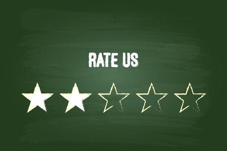 feed back: Two Star Feedback Rate Us On Green Chalkboard Illustration